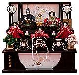 雛人形 久月 ひな人形 雛 コンパクト収納飾り 三段飾り 五人飾り よろこび雛 刺繍 小三五親王 小芥子官女 桐製 h303-k-2118 K-40