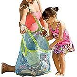 特大 おもちゃ 収納バッグ ビーチバッグ メッシュバッグ 【 ミニ収納袋 セット 】子供 海水浴 おもちゃ入れ K276-2 (ブルー)