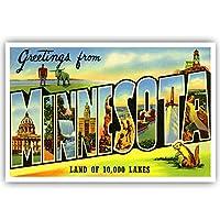 Greetings fromミネソタヴィンテージ再印刷はがきポストカードのセット20identical。LargeレターUS状態名ポストカードパック(CA。1930' s-1940の。Made In USA。