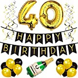 40th Birthday Party Pack ? Black & Gold Happy Birthday Bunting Poms and Swirls Pack- Birthday Decorations ? 40th Birthday Party Supplies [並行輸入品]