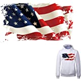 American Flag Iron on Patch Heat Transfer Stickers for Jackets Jeans T-Shirt Clothing Decorations Women Men Kids Large Patch