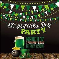 lfeey 10x 10ft聖パトリックの日Backdrop壁紙デコレーション3月17ポットメガネのグリーンビールパーティーポスターバナーケルトHoliday Celebration写真背景スタジオ小道具