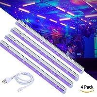 4パックUV LEDブラックライト、7W 4.92Ft LEDバーライトUVアート調光機能付きInvisible 395–400NMのブラックライトランプバーパーティークラブDJ UVアート