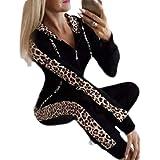 Macondoo Women's Sportwear Sweatshirt Pants Leopard Print Casual Tracksuit Set
