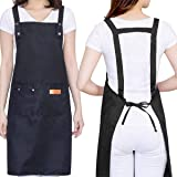 H Style Cotton Apron with 2 Pockets for Kitchen Cooking Baking, Adjustable Waterproof Apron for Chef, Hairstylist, Waiters, A