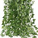 GTidea フェイクグリーン 観葉植物 壁掛け アイビー 藤 インテリア 人工観葉植物 グリーン 植物 吊り 12本入り