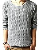 (リザウンド)ReSOUND メンズ ニット セーター 薄灰 XL Uネック はい色 シャツ ながそで シンプル トップス 大きめ はる 春夏 春物 トレーナー プレゼント 大きいサイズ ストレッチ ブランド ウェア ライトグレー XL 353