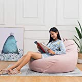 Bean Bag Chair Cover, Large Washable Memory Foam Furniture Bean Bag with Wash Bag, Without Bean Filling, 100% Cotton Canvas,