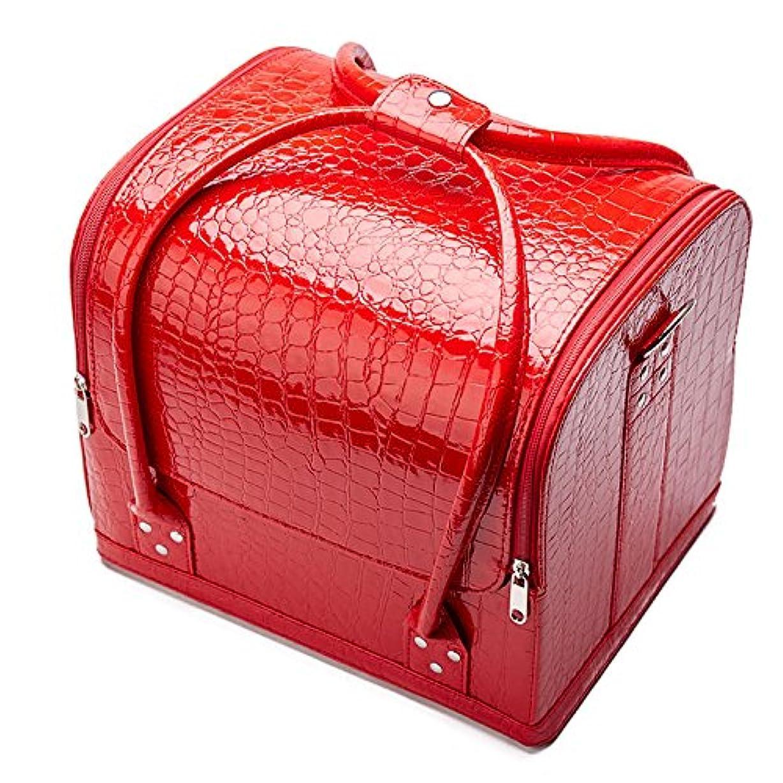 ランチパウダー神聖「XINXIKEJI」メイクボックス コスメボックス ネイルボックス 大容量 防水 洗える 化粧ボックス 肩掛け スプロも納得 収納力抜群 鍵付き オシャレ 祝日プレゼント 取っ手付 コスメBOXレッド