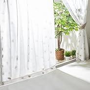 【3柄127サイズから選べる】 アイリスプラザ レースカーテン 1枚 150cm×133cm UVカット プライバシーカット 遮熱 洗える 外から見えにくい 省エネ プレーン(SO) フラワー