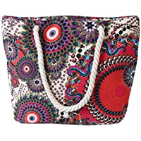 Zhuhaitf Canvas Zipped Beach Bag Womens Oversize Reusable Travel Tote Bag Shopping Bag Various Styles