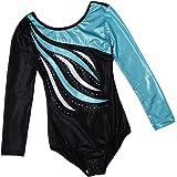 Baosity Kids Girls Ballet Leotards Long Sleeve Gymnastics Costume One-piece Bodysuit