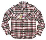 (ヒューストン)HOUSTON マチ付 長袖 チェック ヘビーネルシャツ 40120 M RED×WHITE(レッド×ホワイト系)