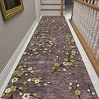 廊下敷きマット ランナー 伝統的な廊下カーペットラグノンスリップ、カジュアルな梅の花柄ロングランナーマット、ホテルキッチンホワイエエントランスフロア用 (Size : 1×5m)
