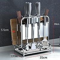 WENZHE キッチン収納りキッチンラック収納棚キッチンラックワゴンフロアタイプ ナイフシートドレインストレージ多機能家庭用品ステンレス鋼、5のスタイル (色 : D-34 * 22 * 39cm)