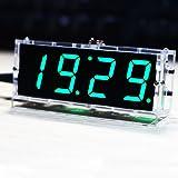 KK moon LED時計 DIYデジタルLED時計キット 4桁 LEDクロックキット コントロール温度日付時間表示機能 透明ケース付き (緑)