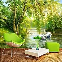 Lcymt カスタム壁画壁紙3Dフォレスト白鳥湖自然風景写真壁紙リビングルームテレビソファ背景壁家の装飾ロールスロイス-120X100Cm