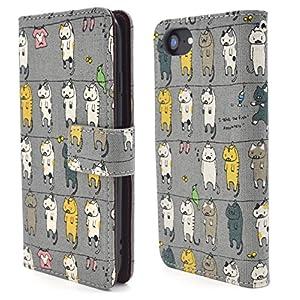 PLATA iPhone 6 / 6s / 7/8 ケース 手帳型 日本生地 使用! 干されている 猫 カバー ポーチ iPhone6 iPhone6s iPhone7 iPhone8 【 グレー 灰色 gray ぐれー 】 IP7-5111GR
