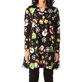 Howme-Women 3D Digital Print Plus Size Christmas Day Mid Dress