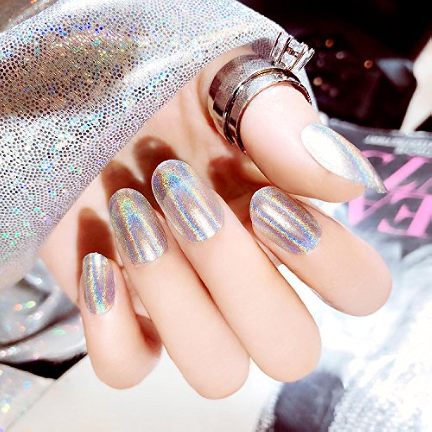 ルネッサンスパキスタン書き出す質感 彩がつく 24枚純色付け爪 ネイル貼るだけネイルチップ レーザー 多重光沢 お花嫁付け爪 ジェルネイルの光疗法 シンフォニー (輝くシルバー)