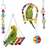 SunGrow Bird Swing Toy Set, Colorful Collection of Bells, Wood, Plastic and Rattan Balls, Includes Perch and Hammock, Suitabl