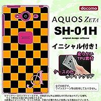 SH01H スマホケース AQUOS ZETA ケース アクオス ゼータ ソフトケース イニシャル スクエア 黒×オレンジ nk-sh01h-tp761ini W