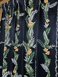 1級遮光ハワイアンベルドレープカーテン100×110cm【2枚入り】ブラック