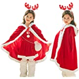 Christmas Cloak Red Hooded Cape Robe Mrs. Santa Claus Cloak Costume Xmas Long Velvet Cape Outfits for Women Kids Girls