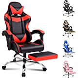 ALFORDSON Gaming Chair Racing Chair Executive Sport Office Chair with Footrest PU Leather Armrest Headrest Home Chair in Red