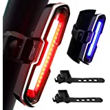 DON PEREGRINO B2 Powerful 110 Lumens LED Rear Bike Light Red/Blue USB Rechargeable, Waterproof Bicycle Tail Light Multiple Pa