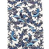 九寸名古屋帯 本場 琉球 紅型染帯 城間栄順作 未仕立 沖縄琉球びんがた 染帯 琉球藍 白地に藍の濃淡 扇面に小花柄