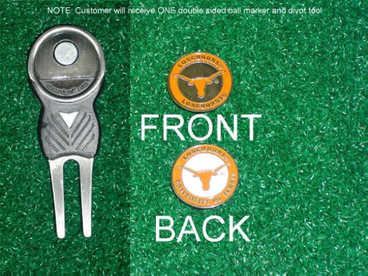 統治可能心から乱用テキサス大学ゴルフDivot Tool w / 1つ両面ボールマーカー