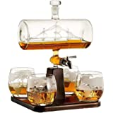 1000ML Whiskey Decanter Ship Set, with 4 Whiskey Glasses and Wood Stand, 100% Lead-Free Glass, Perfect Gifts Set for Liquor,