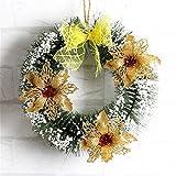 クリスマスリース 玄関ガーランド クリスマスの装飾花輪 壁掛けリース 華やか壁飾り おしゃれ 可愛いクリスマス飾り 玄関ドア窓 インテリアの飾り 30cm