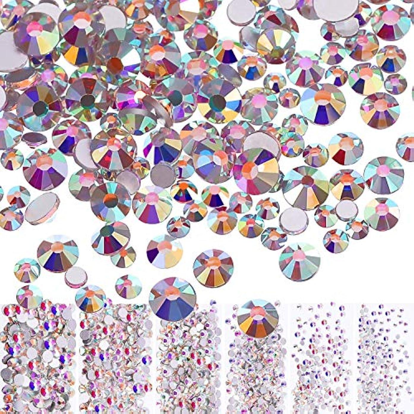 スラック一方、胃Mojoe 3168個ネイルクリスタルAbネイルアートラインストーンラウンドバックガラスチャーム宝石石、6サイズネイル用装飾化粧服靴(、混合Ss4 5 6 8 10 12)(クリスタルAb)