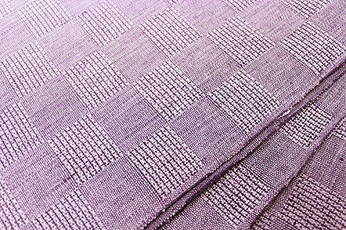 麻八寸名古屋帯日本製涼しげな夏帯(紫のグラデーションにぼかし市松)