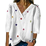 zeyubird Womens Floral Embroidered T Shirts 3/4 Sleeve V Neck Pleat Tshirts Casual Loose Pullover Tops for Women