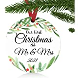 """ZUNON First Christmas Ornaments 2020 Our First Christmas as Mr & Mrs Couple Married Wedding Decoration 3"""" Ornament (Green Mr"""