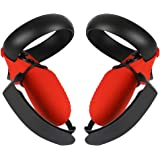 Esimen Touch Controller Grip Cover for Oculus Quest/Rift S Wrist Strap Anti-Throw Handle Protective Sleeve Suit (Red Cover+St