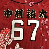 広島カープ 刺繍ワッペン 中村 名前 中村祐太 (黒)