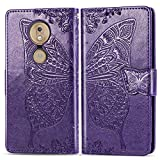 Moto G7 Power Case, Abtory Leather Wallet Case with Kickstand Magnetized Closure, Card Slots Money Pouch and Stand Feature for Moto G7 Power Deep Purple
