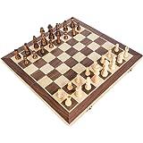 KOKOSUN チェスセット 国際チェス 木製 マグネット式 折りたたみチェスボード 収納便利 (L)