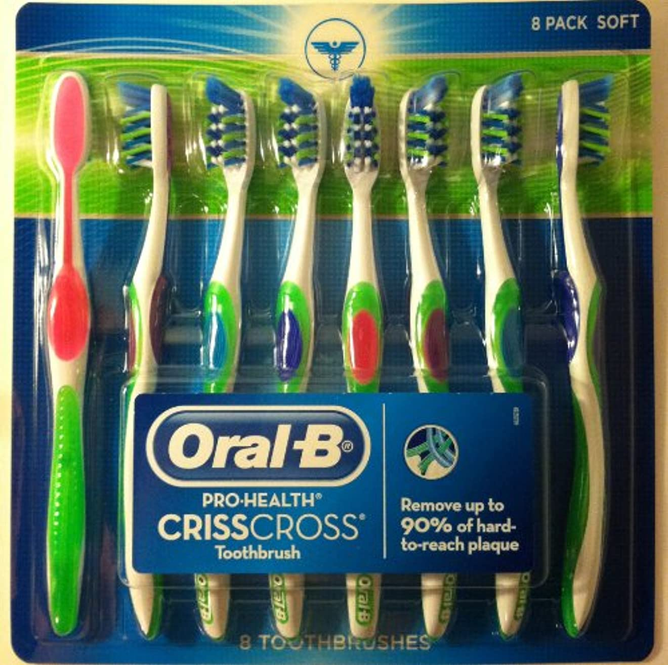 険しいクランシー端末【歯垢をかきだす歯ブラシ】ORAL B® ADVANTAGE CRISSCROSS TOOTHBRUSH - SOFT 8本 歯ブラシ