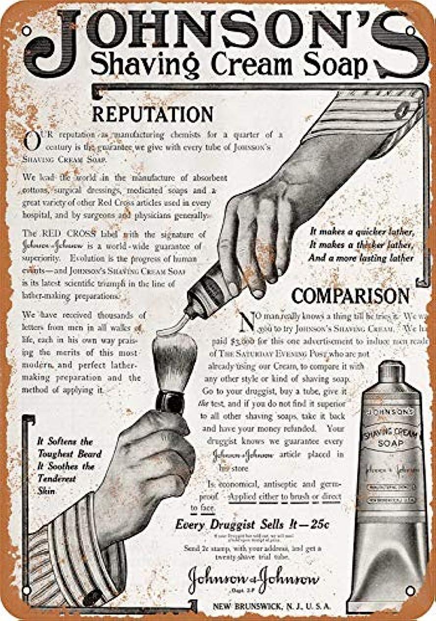 日食分析的分子[ZUNYI]おしゃれ 雑貨 ブリキ看板 Johnson's Shaving Cream Soap レトロスタイル 壁の装飾、家、パブ、ビール、ガレージ、庭、コーヒー[20x30cm]