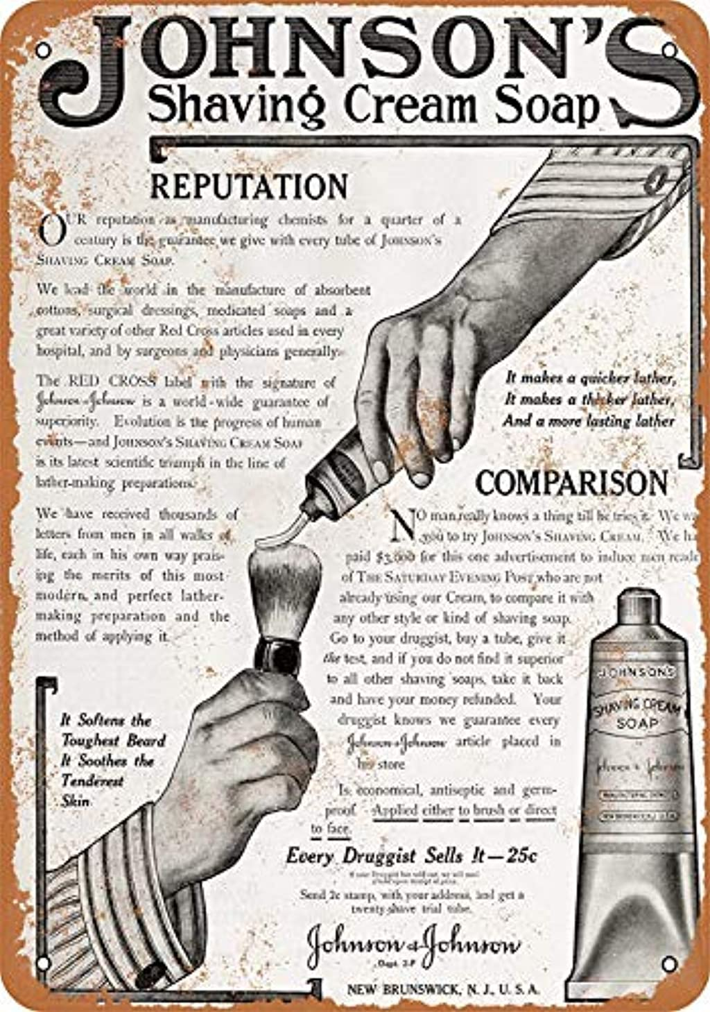 前任者下品大騒ぎ[ZUNYI]おしゃれ 雑貨 ブリキ看板 Johnson's Shaving Cream Soap レトロスタイル 壁の装飾、家、パブ、ビール、ガレージ、庭、コーヒー[20x30cm]