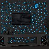 Glow In The Dark Stars Sticker 216 Pcs Luminou Sticker Decal Ceiling Stickers Wall Mural Wallpaper Art Decor Star Wars Wall D