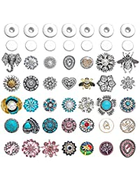 Soleebee 36 pcs Alloy Rhinestones Snap Button Jewelry Charms with 12 Set Snap Button Fastener, Included 1 x Post and 1 x Socket