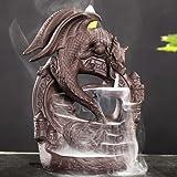 Mangetal Ceramic Backflow Incense Burner Dragon, Incense Cones Burner Incense Stick Holder Backflow Incense Burner with 10 Fr
