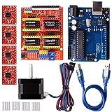 Quimat 3Dプリンター CNCキット Arduinoに交換 Arduino UNO R3ボード+CNCシールドV3+A4988ドライバ+ヒートシンク+Nema 17ステッピングモータ GRBL 0.9交換 実験用 電作キット QD06C