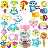 赤ちゃんTeetherボトルは、教育玩具を積んで3-6-12ヶ月ランダムカラー